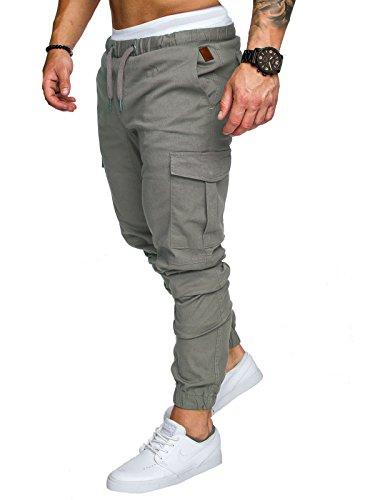 Cindeyar Uomo Pantaloni Lunghi Cargo con Coulisse Tasche Laterali Trousers della di Sport Pants Elastici Casual Maschi