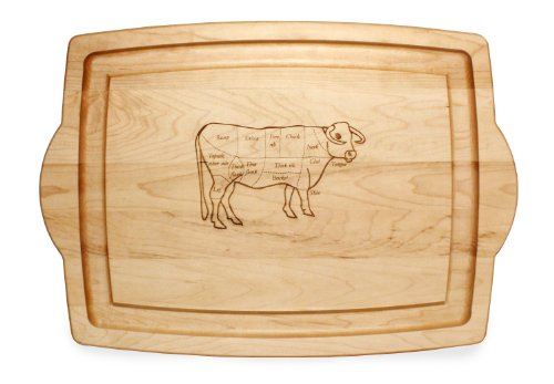 J.K. Adams Maple Wood Farmhouse Carving Board with Laser Engraved, Cow Design, 20-Inch by 14-Inch -