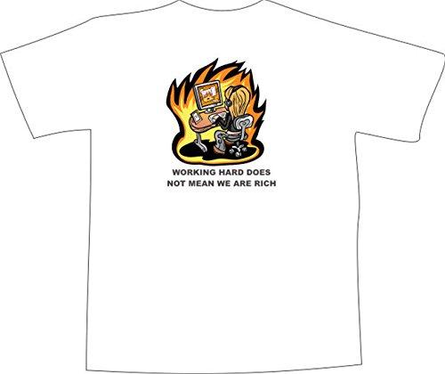 T-Shirt E1252 Schönes T-Shirt mit farbigem Brustaufdruck - Logo / Grafik / Design - Frau im Büro mit Computer und Flammen Weiß