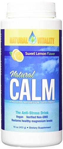 Peter Gillham's Nat Vitality Boisson anti-stress Natural CALM - Complément de magnésium relaxant - Apport équilibré de calcium - Parfum de citron - 473 ml