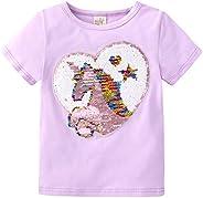 NCTCITY Niñas Unicornio T-Shirts Reversible Lentejuelas Brillantes Camisetas de Manga Corta de Verano Cuello R