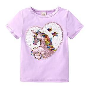 NCTCITY Niñas Unicornio T-Shirts Reversible