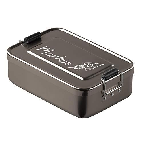 elasto Robuste Brotdose Anthrazit Brotbüchse Brotbox mit Name und Coolen Motiven Lunchbox mit Gravur Aluminium Vesperdose Pausenbox mit Name BPA-Frei Vorratsdose Personalisiert aus Metall (Rakete)
