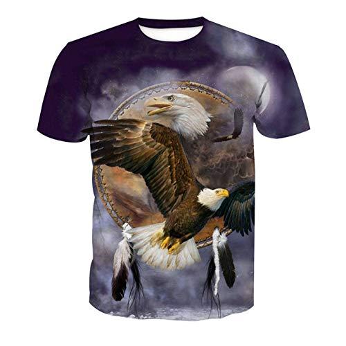 Männer 3D T-Shirt Fliegen Adler Adler-Totem Fußball Team Uniform Muster Digitaldruck Liebhaber Shirt(L,Bunt) -