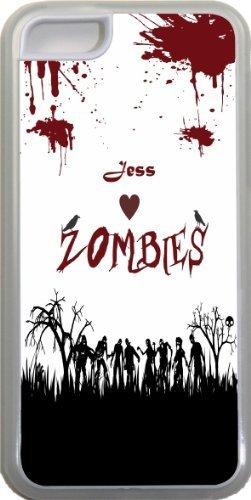 Jess Loves Zombies sur Grunge rouge personnalisée avec nom Design Iphone 5C Coque (Transparent) avec protection pare-chocs en caoutchouc pour Apple iPhone 5C Étui vendre sur zeng