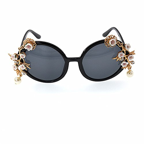 Sonnenbrillen Mode Damen-Sonnenbrille Graceful Handmade Metal Flower Baroque für Damen Kristall und Perle Show Style Sunglasses Beach Sonnenbrille