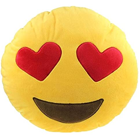 LinTimes, motivo: Smiley Emoji, cuscino rotondo Argento