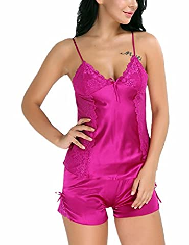 IINIIM 2 PC Vêtement de Nuit Femme Fille à bretelles en Dentelle Floral Nuisettes Dos nu Bowknot Satin Top Veste de Pyjama Shorts Sets Taille S-XXL Rose Vif M