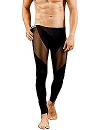 Men Long Pants Footless Pantyhose Underwear Leggings Baselayer Tights Sexy Hot