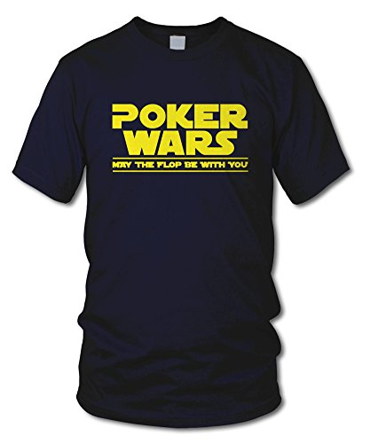 shirtloge - POKER WARS - MAY THE FLOP BE WITH YOU - KULT - Fun T-Shirt - in verschiedenen Farben - Größe S - XXL Navy