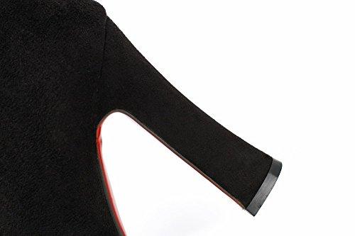 AgooLar Femme Tire Rond à Talon Haut Haut Élevé Bottes Noir