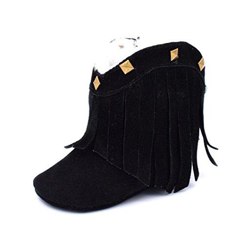 Winter Babyschuhe Jamicy® Baby Weiche Sohle Schnee Aufladungen Weiche Krippe Schuh Kleinkind Troddel Niet Aufladungen (Size : 12, Colour : Black) Colour : Black