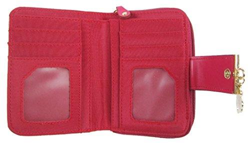 Kukubird Patta Deployante Con Trifoglio Fascino Dettaglio Medio Ladies Borsa Clutch Wallet Red
