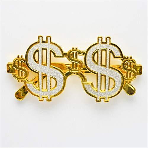 VAWAA Mode Golden Shiny Dollar Zeichen Kostüm Brille Geld Sonnenbrille Fancy Dress Party Photobooth Brillen (Villain Fancy Dress Kostüm)
