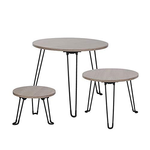 Cocoarm set 3 tavolini in legno rotondi tavolini pieghevoli moderni scandinavi sovrapponibili per salotto soggiorno studio camera da letto balcone ufficio