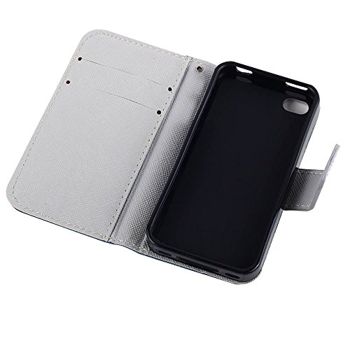 MOONCASE pour Apple iPhone 4 / 4S Case Cuir Housse de Protection Coque en Portefeuille Étui à rabat Case DKS19 DKS10 #1221