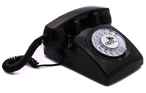 Retro-designer-center (Opis 60s cable - Retro Telefon im sechziger Jahre Vintage Design mit Wählscheibe und Metallklingel (schwarz))