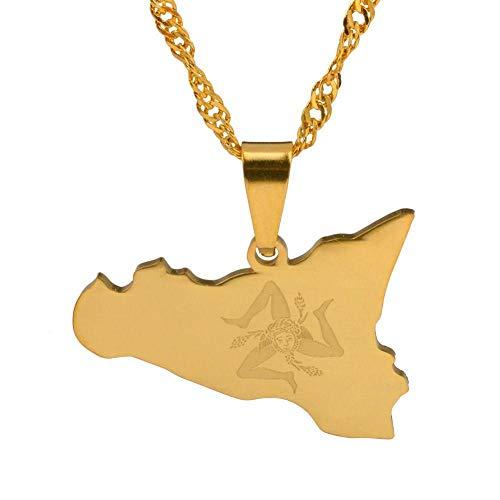 XZZZBXL Map Necklace for Women,Italien Sizilien Karte Anhänger Halsketten Mode Persönlichkeit Für Frauen Mädchen Gold Farbe Charme Italienischer Karten Schmuck 45 cm (18 Zoll)-T