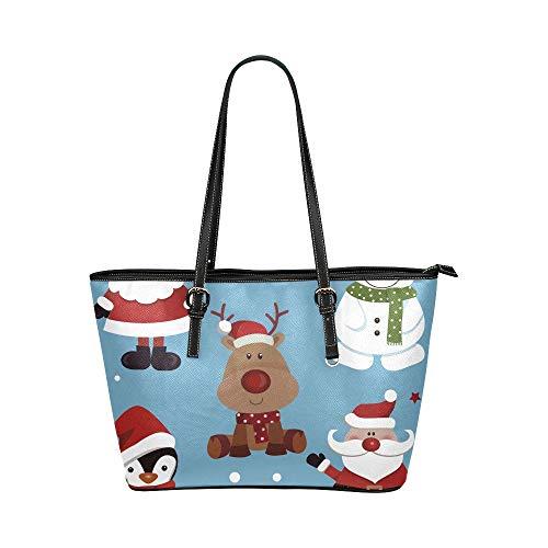 (Weißer Schneemann Winter Maskottchen großes weiches Leder tragbarer Handgriff Handhandtaschen Taschen kausale Handtaschen mit Reißverschluss Schulter Einkaufen Geldbeutel Gepäck die Arbeit der Dame)