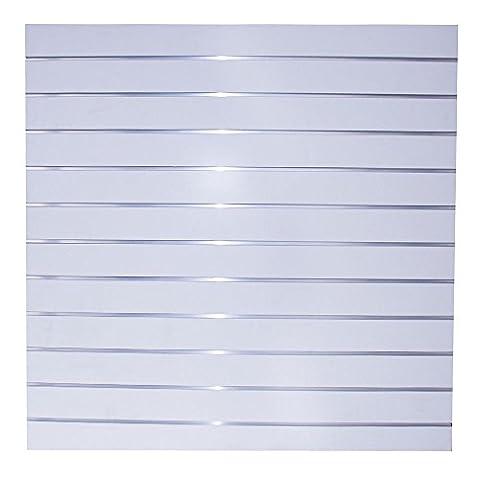 Lamellenwand mit 11 Alu Schienen 120x120cm Paneelwand Paneel Slatwall Ladeneinrichtung Lamellenwände Weiß (B-Ware)