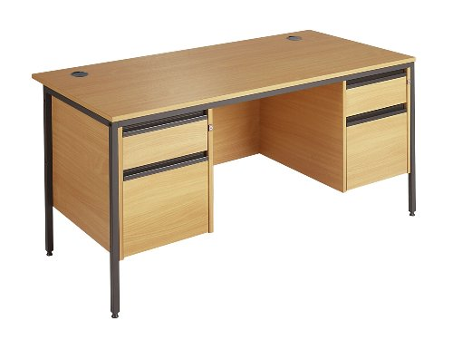 Great Buy for Minuet 1532 Straight Desk 4 Legs 2 and 2 Drawer Fixed Pedestal – Oak Online