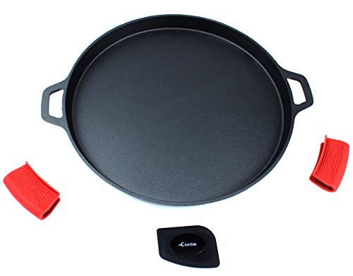 Sartén para pizza de hierro fundido de 34,5 cm, sartén para hornear, parrilla de cocción, para estufa...
