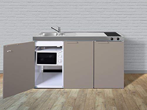 Stengel Miniküche Pantryküche Single Küche 150cm beige Metall Becken links Ceran
