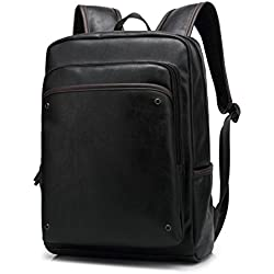 BAOSHA BP-11 elegante gruesa hombres piel sintética ordenador portátil mochila escolar Colegio Mochila Negro