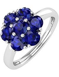 10K Gold Rund Blau Saphir Verlobungsring Band Ring (1,00Karat)