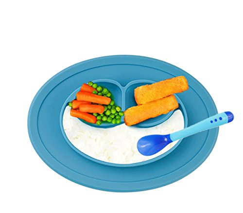 raymoon-kids-placemat-divided-suction-plate-in-one-with-spoon-no-mess-toddler-baby-happy-face-feedin