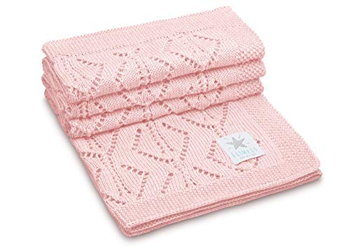 Elimeli, coperta in lana vergine lavorata a maglia, 100% lana merino, perfetta per neonati, in confezioni regalo, anallergica, estremamente morbida