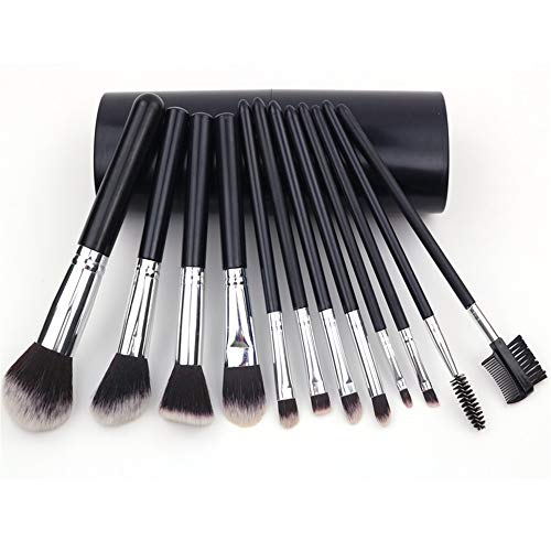 Make-up Pinsel Set 12 Tubes Anfänger Voll Make-Up Pinsel Lidschatten-Pinsel, Schwarz