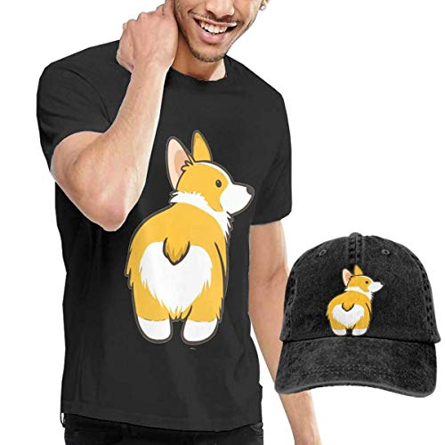 Kalinanai T-Shirts, T-Stücke, Corgi Butt Men's Cotton T-Shirt mit rundem Kragen und Verstellbarer Baseballkappe -