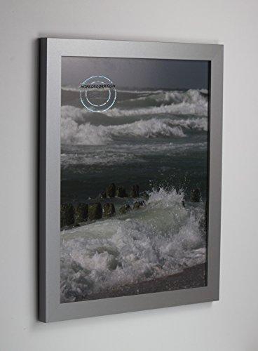 Kiruna Bilderrahmen im Bauhaus Stil, eckig und stabil 83 x 139 cm Größen Auswahl 139 x 83 cm hier: Mattsilber Silber Matt mit Acrylglas Antireflex 2 mm