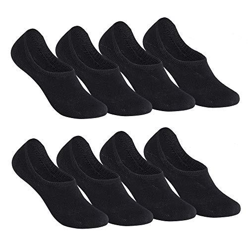 Falechay Sneaker Socken Damen Herren Füßlinge Footies 8 Paar Kurze Großes Silikonpad Verhindert Verrutschen Unsichtbare-Schwarz 35-38
