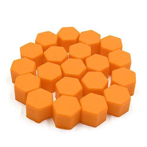 sourcing map 20 pc 21mm Orange Hub Silicone Roue Auto Vis Couvercle Boulon Protection Écrou