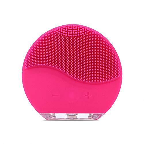 Y-XM Cepillos De Equipo De Limpieza Facial Gel De Sílice Limpieza Cepillo Médico Ultrasonido Choque Impermeable La Seguridad Cepillo De Lavado Poro Limpieza Instrumento,Rosered