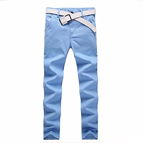 Men's Straight Cotton Full Length Casual Trousers Sky Blue