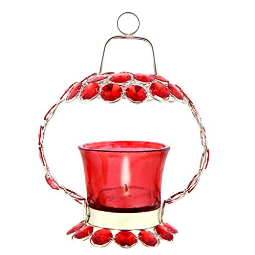 Decor & Craft Emporium Red Crystal Tealight Candle Holder Stand Handicraft Item For The Great Indian Sale