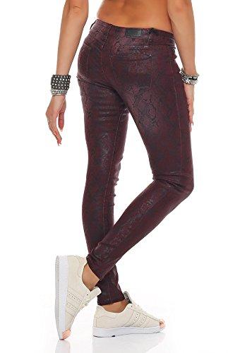 SKUTARI - Femme Jean Pantalons Skinny la peau du serpent optique Rouge
