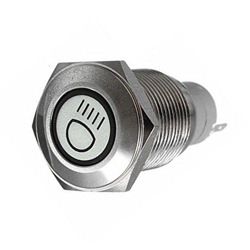 Preisvergleich Produktbild Supmico 16mm KFZ Kippschalter Wippschalter Schalter Drucktaster 12V Rot LED Licht Lampe Metall Fernlicht