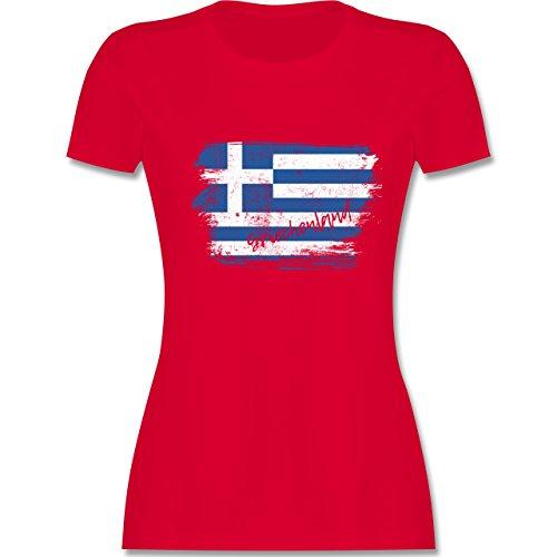 Länder - Griechenland Vintage - L - Rot - L191 - Damen T-Shirt Rundhals