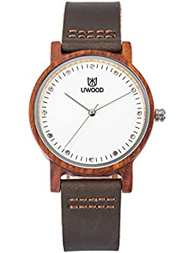 Damen Holzuhr- Uwood Bambus Holzuhr Damen Mädchen Größe 36mm Uhr echtes lederarmband holz armbanduhr damen(rot...