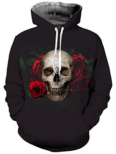 uideazone Hip Hop Style Cool Hoodie 3d Print stieg Totenkopf Langarmshirts Pullover Plus Größe XXL