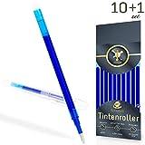 Ersatzminen für radierbare Kugelschreiber - edles blau - kompatibel zu Pilot Frixion Tintenroller - sehr gut gefüllte Minen, Strichstärke 0,7 [10 Stück] + Bonus-Stift inkl. Radierer