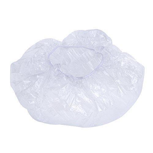Einweg Duschhaube Elastische Badkappe Kunststoff Wasserdicht Transparent Dusche Kappen, Klar, 50 Stück