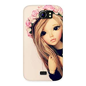 Impressive Pink Rose Doll Back Case Cover for Micromax Canvas 2 A110