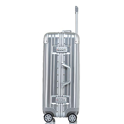 D_HOME Valigetta per Trolley Universale con Telaio in Alluminio AntiGraffio per valigie per Studenti Uomini e Donne (20/22/24/26/29 Pollici) (Colore : Silver Mirror, Dimensioni : 20 Inches)