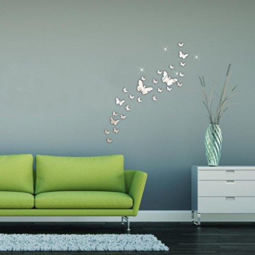 Saingace® 3D Miroir Stickers muraux Décoration Combinaison 30PC papillon bricolage