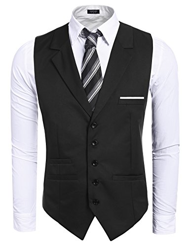 Coofandy Men's Waistcoat V-neck Slim Fit Business Suit Vest